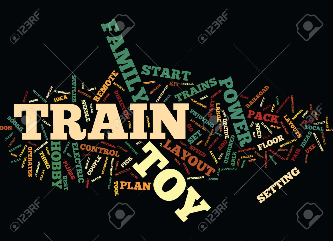 ELECTRIC TOY TRAINS Text Background Word Cloud Concept - 82598765