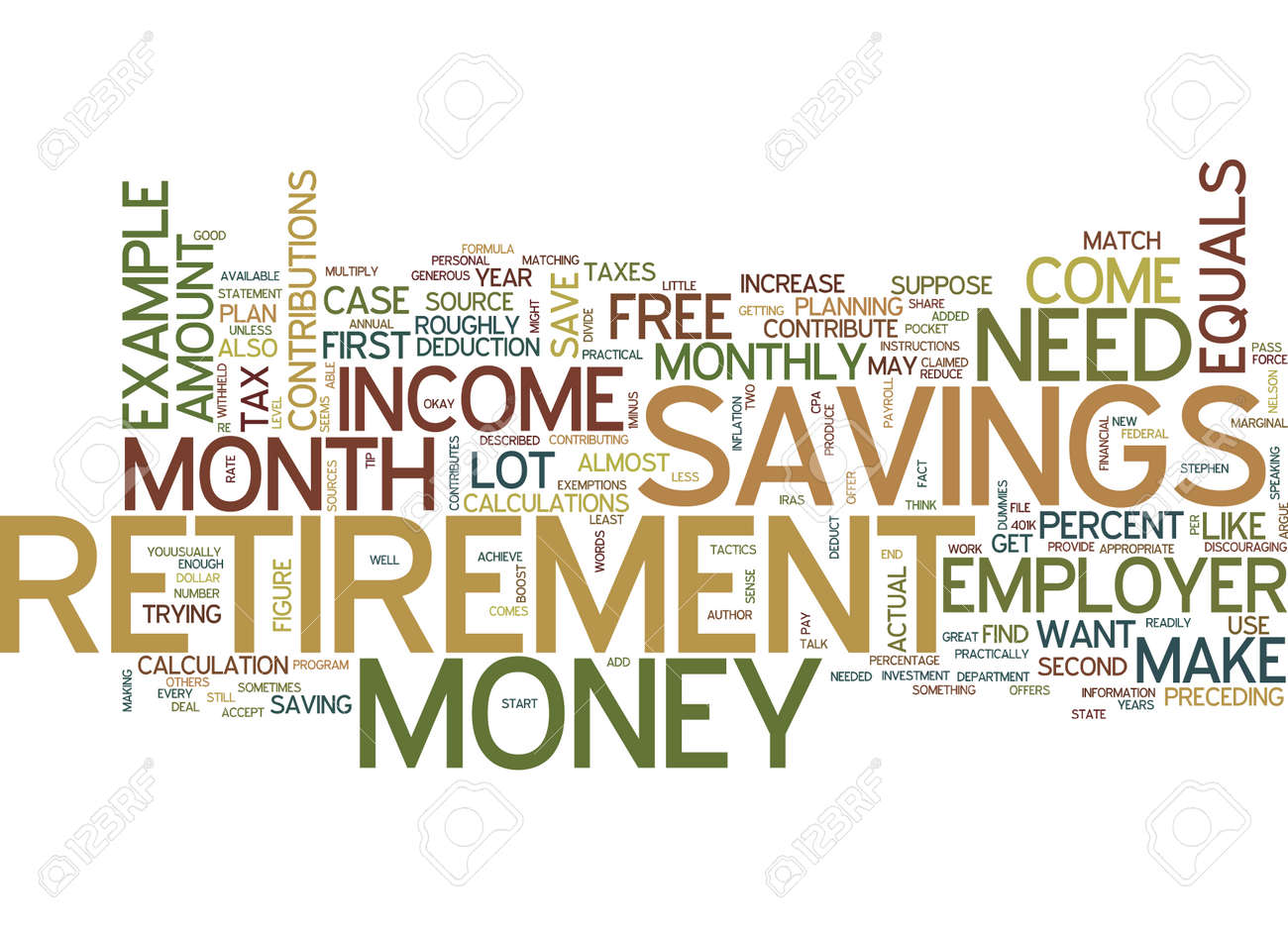 free money for your retirement text background word cloud concept