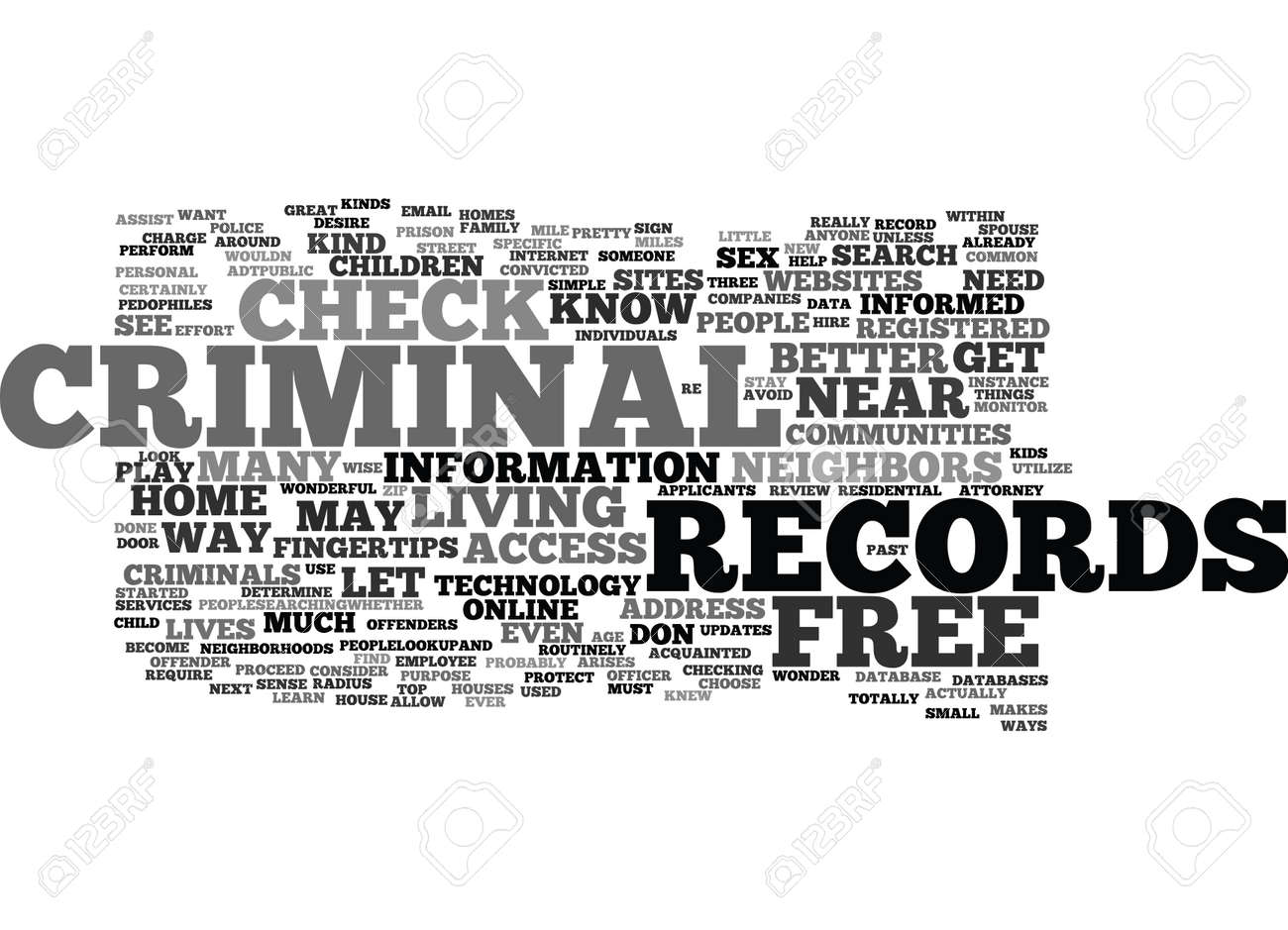 Free Criminal Record Check >> Free Criminal Records Check Text Background Word Cloud Concept