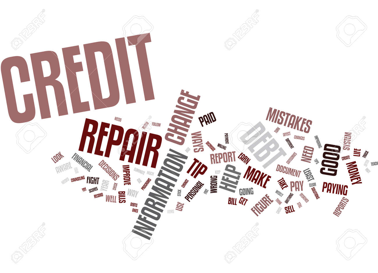 FOUR CREDIT REPAIR TIPS Text Background Word Cloud Concept - 82573481