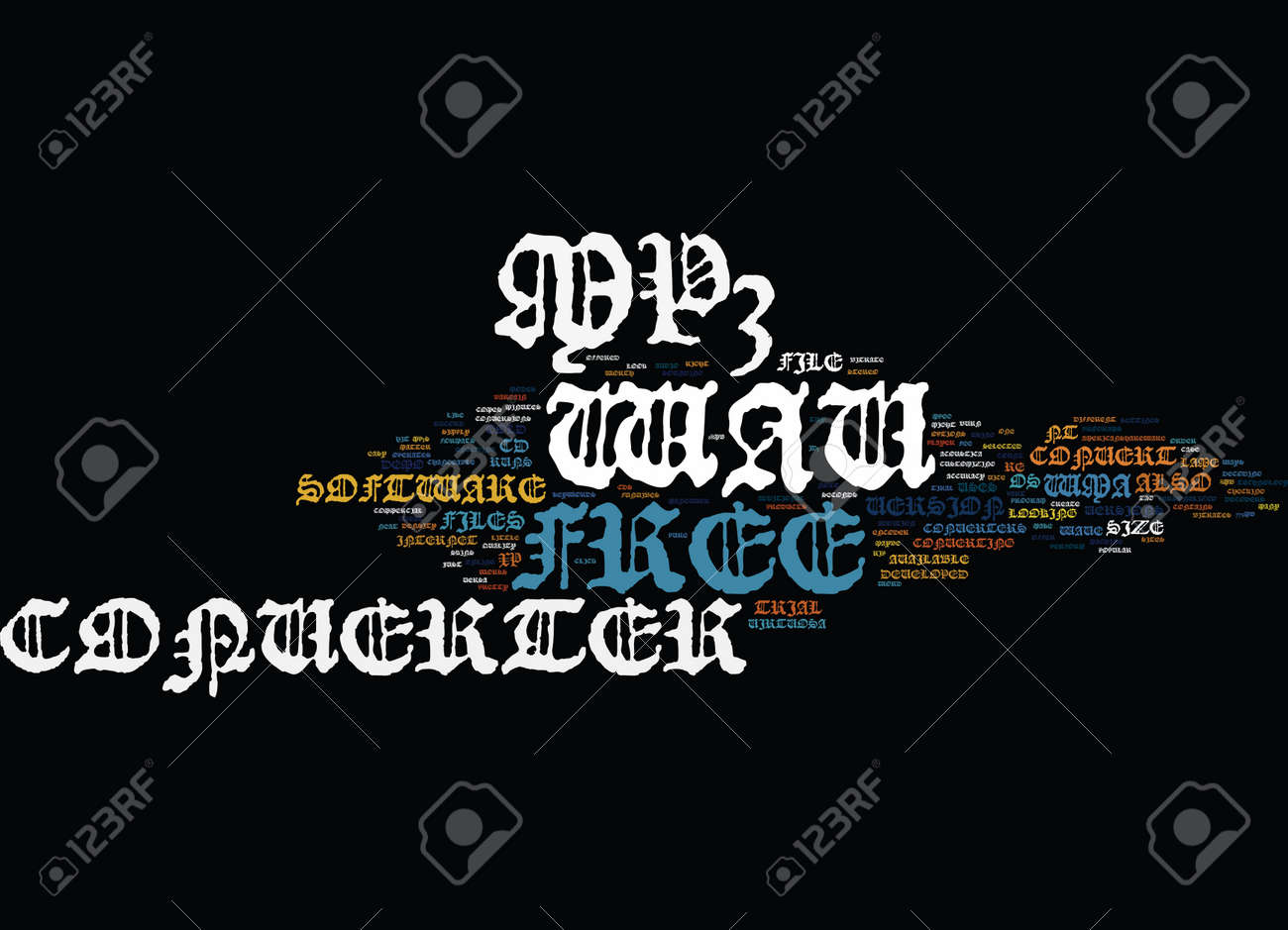 Free mp to wav converter text background word cloud concept