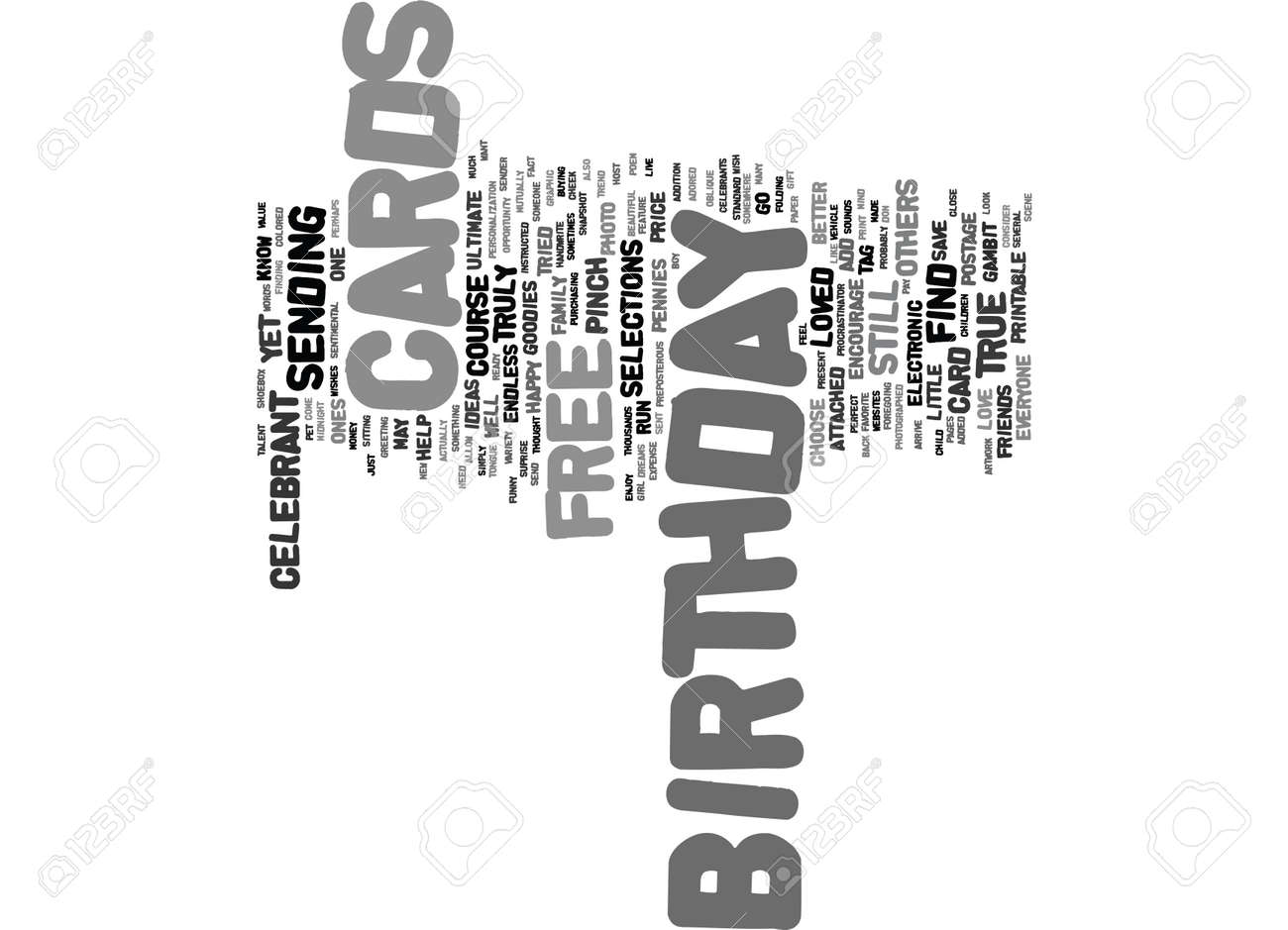 FREE BIRTHDAY CARDS Text Background Word Cloud Concept Stock Vector
