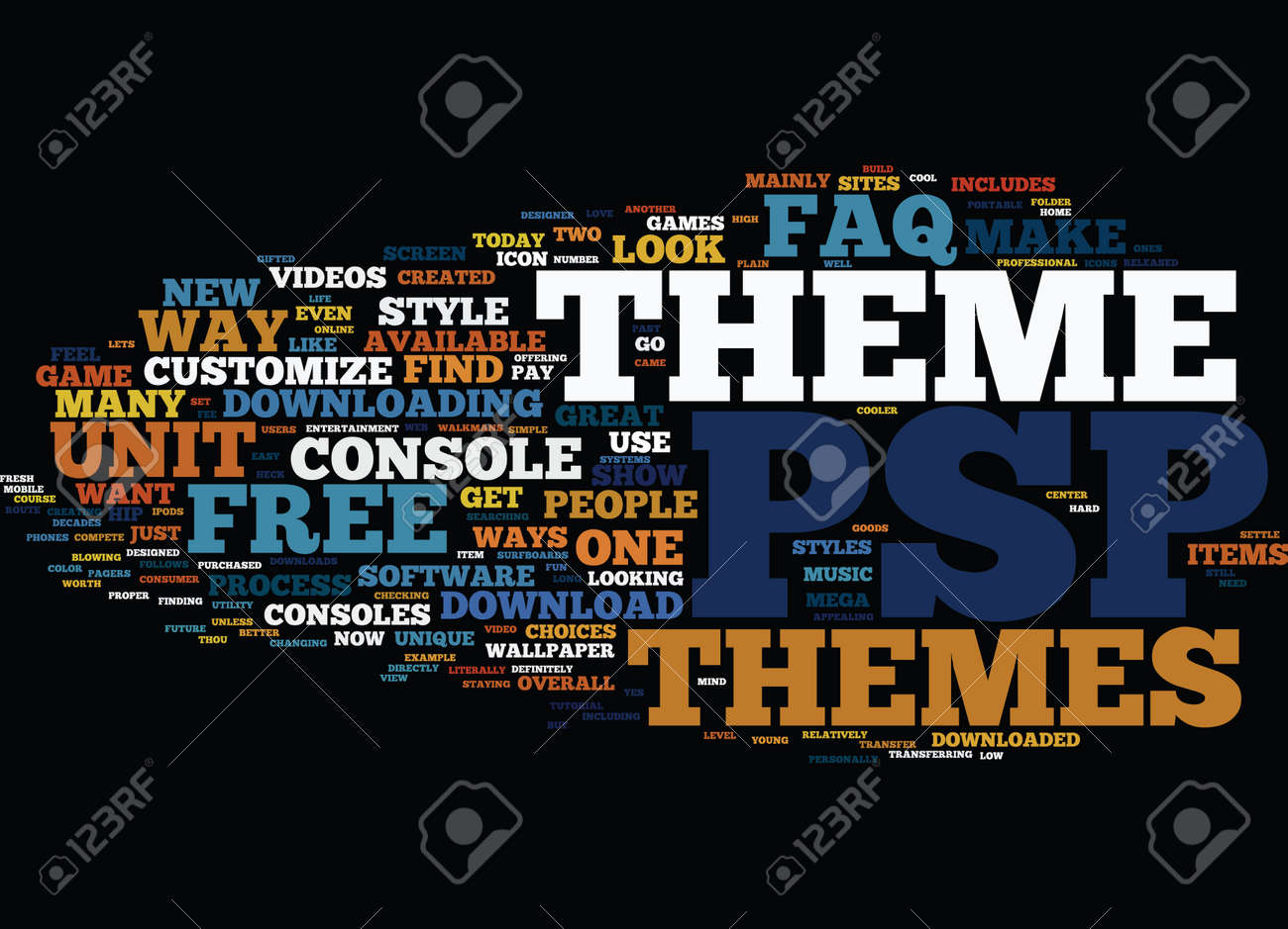 FREE PSP THEMES AN FAQ Text Background Word Cloud Concept