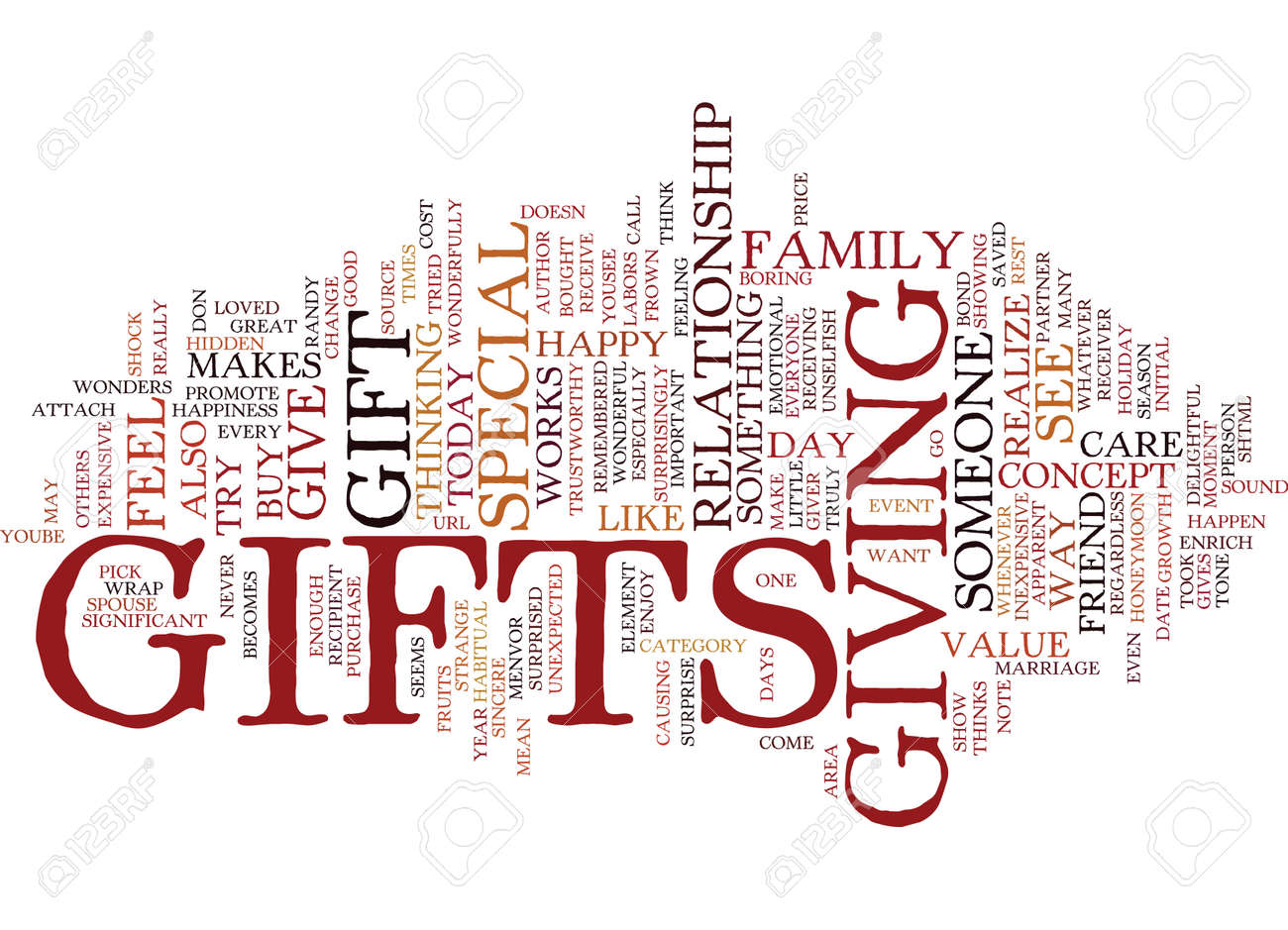 gifts make others feel special text background word cloud concept