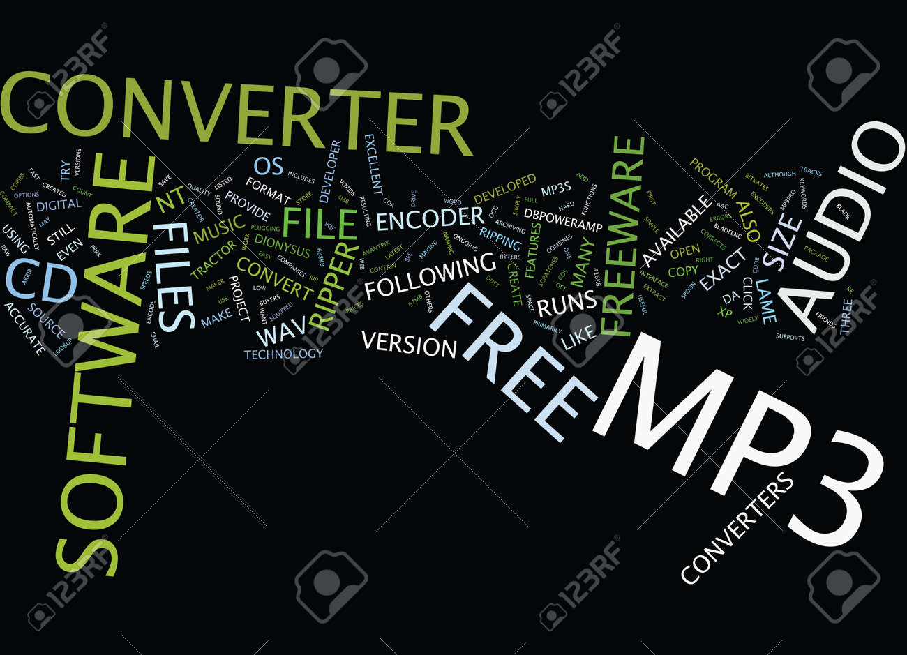 Free mp converter text background word cloud concept royalty free