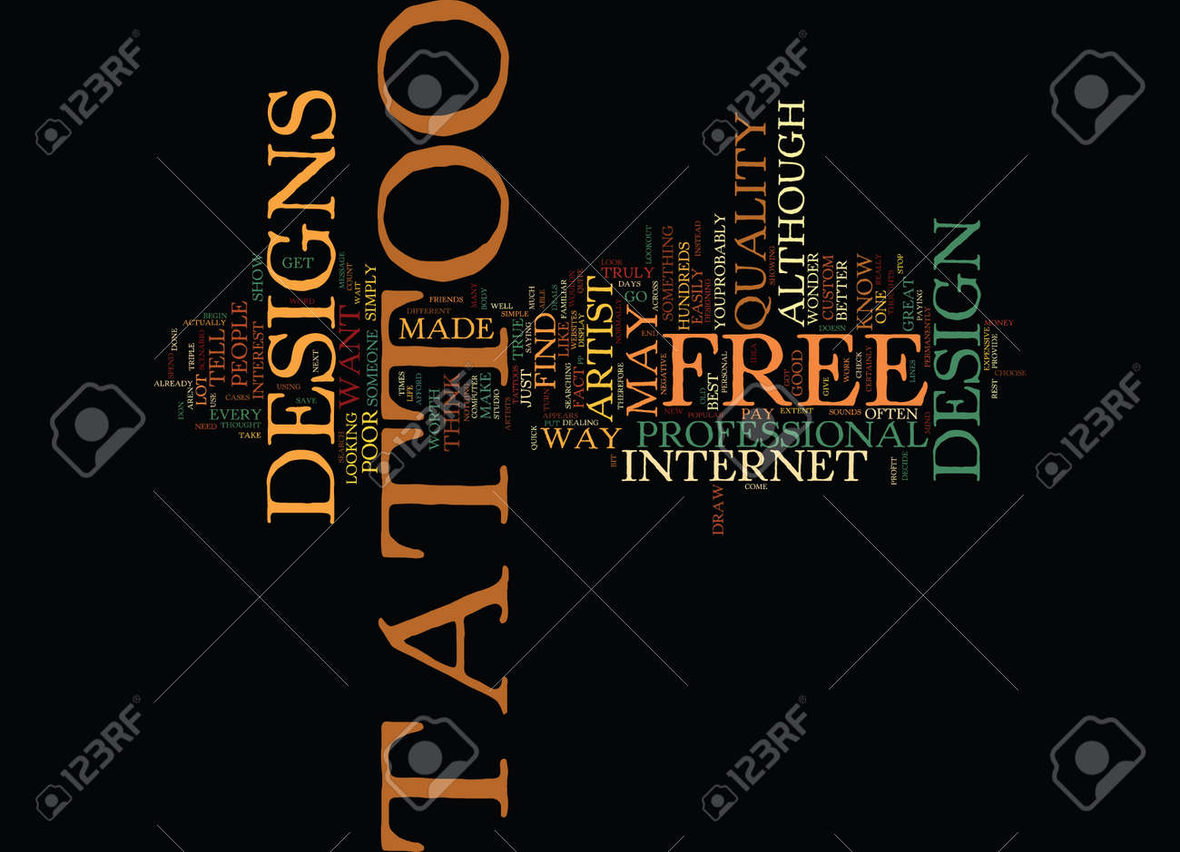 Free Tattoo Designs Text Background Word Cloud Concept Royalty Free