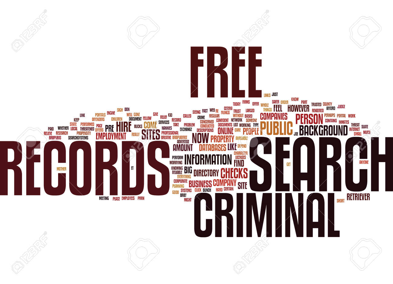 Criminal Records Search Free >> Free Criminal Records Search Text Background Word Cloud Concept