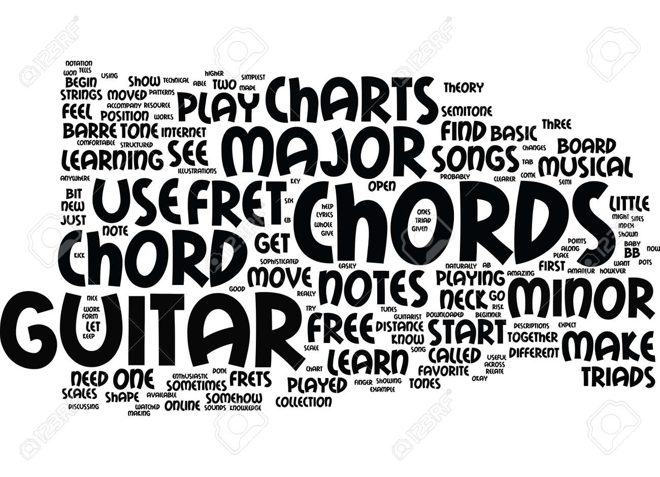 Free Guitar Chord Charts Text Background Word Cloud Concept Royalty