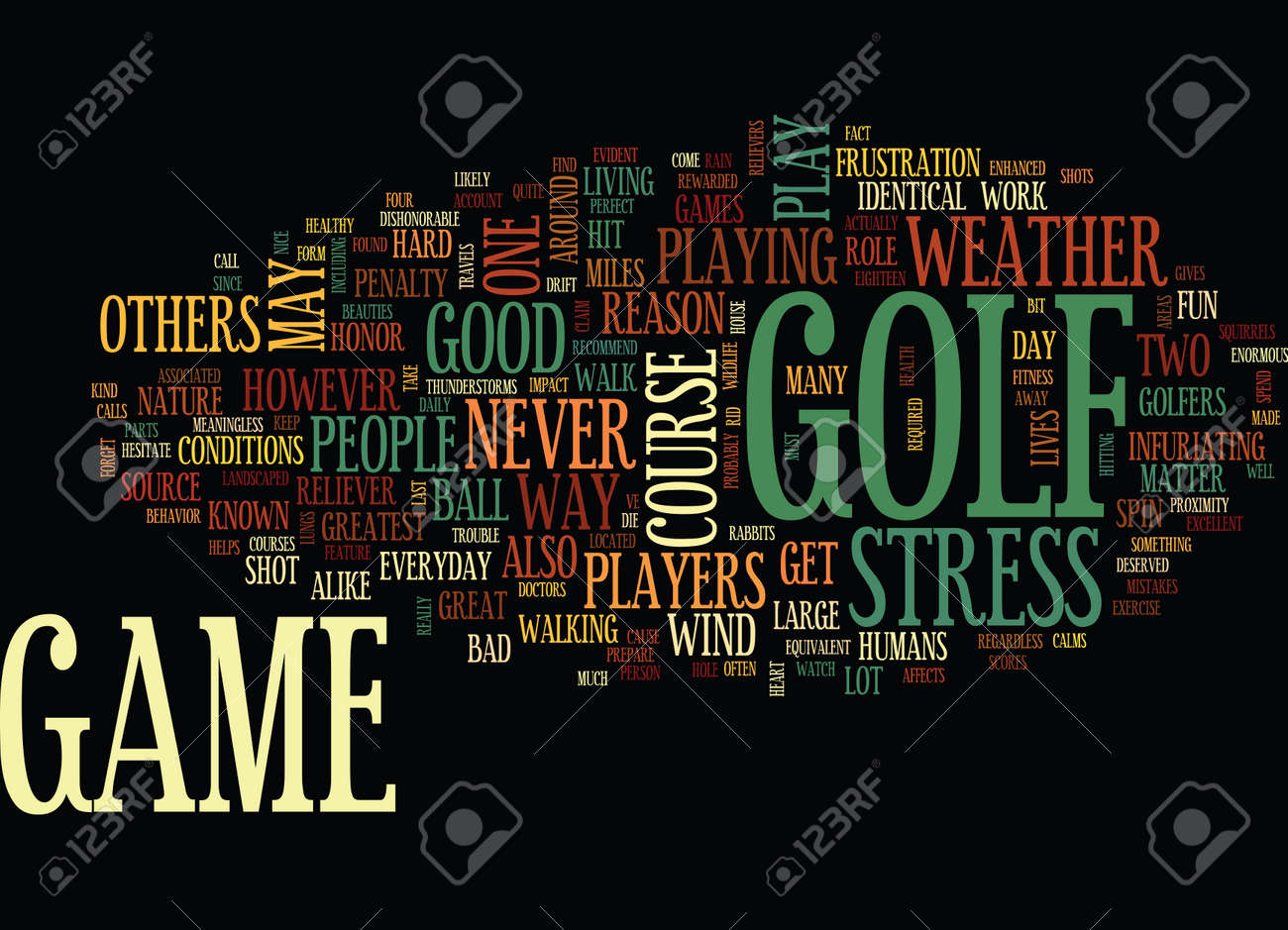 GOLF THE GREAT STRESS RELIEVER Text Background Word Cloud Concept