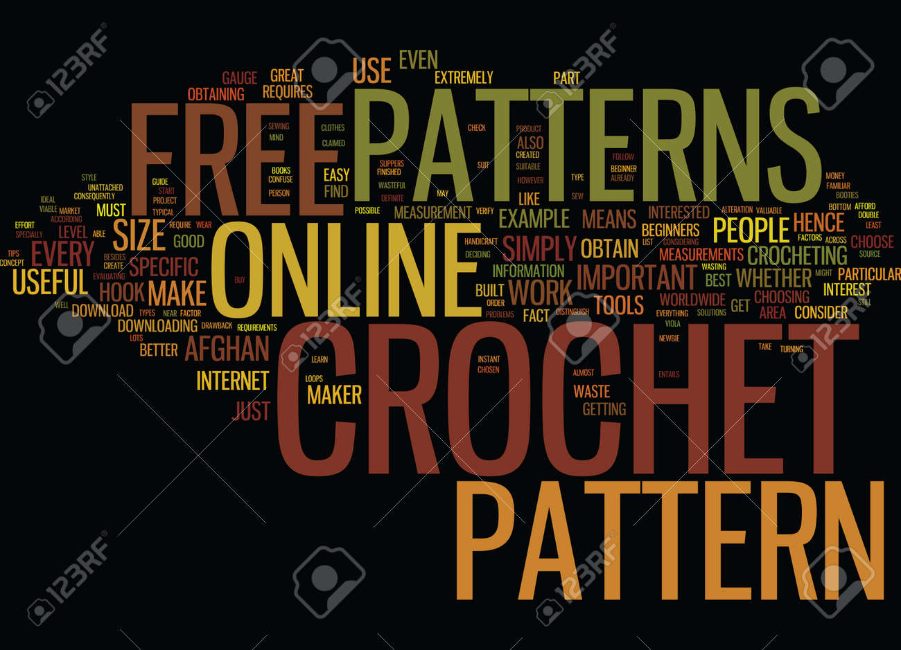 FREE ONLINE CROCHET PATTERNS Text Background Word Cloud Concept