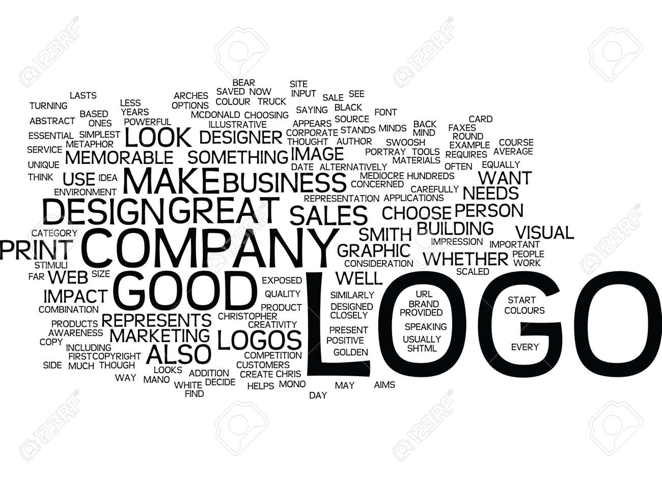 GOOD LOGOS MAKE GREAT SALES TOOLS Text Background Word Cloud Concept Stock Vector