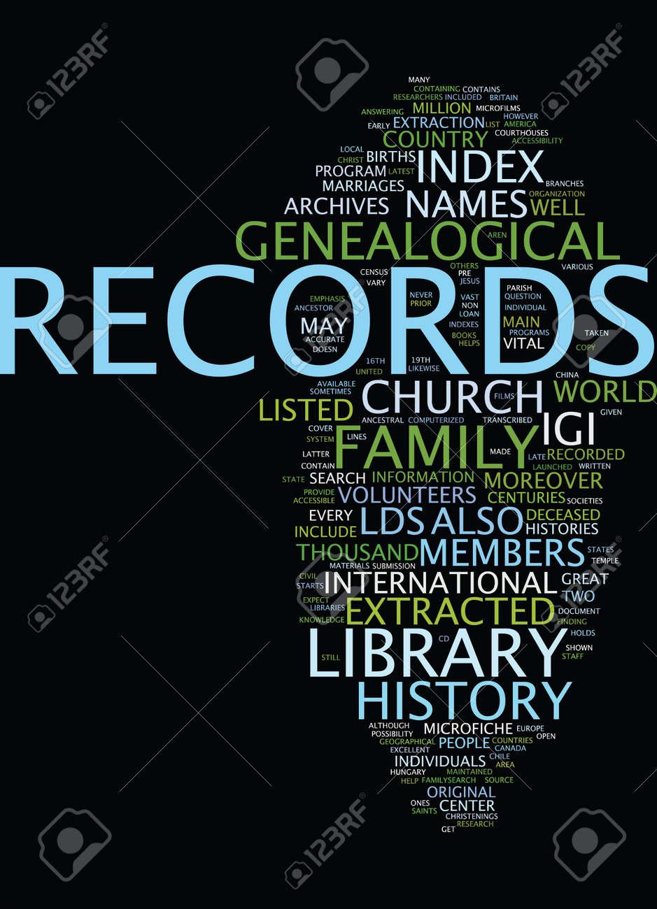 LDS GENEALOGY Text Background Word Cloud Concept