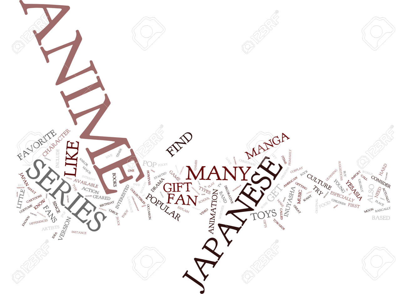 great gift ideas for the anime fan text background word cloud