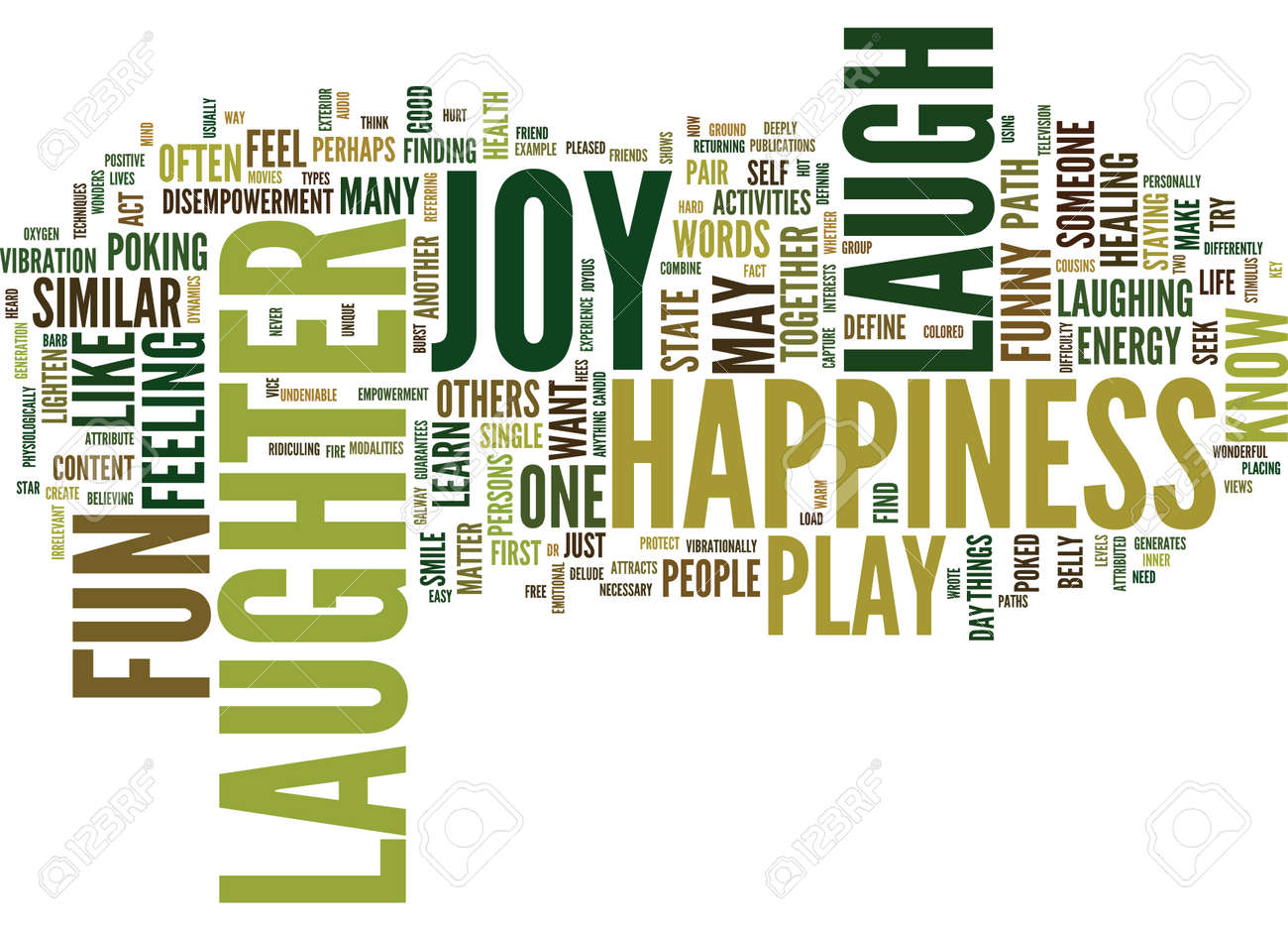 LAUGHTER PLAY FUN JOY HAPPINESS Text Background Word Cloud Concept - 82592529