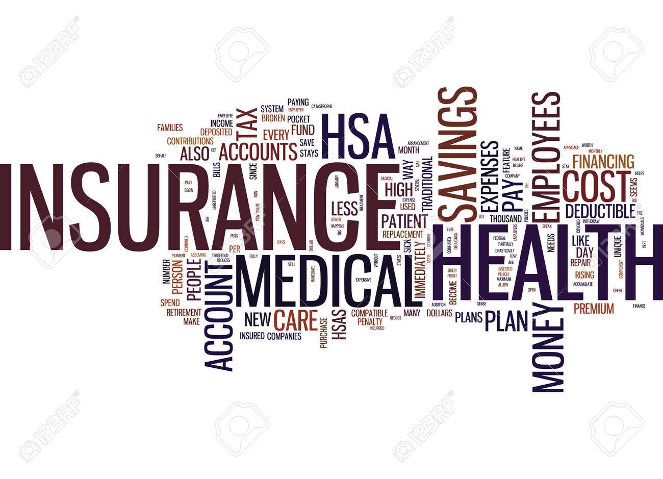 THE NEW WAY TO LOWER THE COST OF HEALTH INSURANCE Text Background Word Cloud Concept - 82593476
