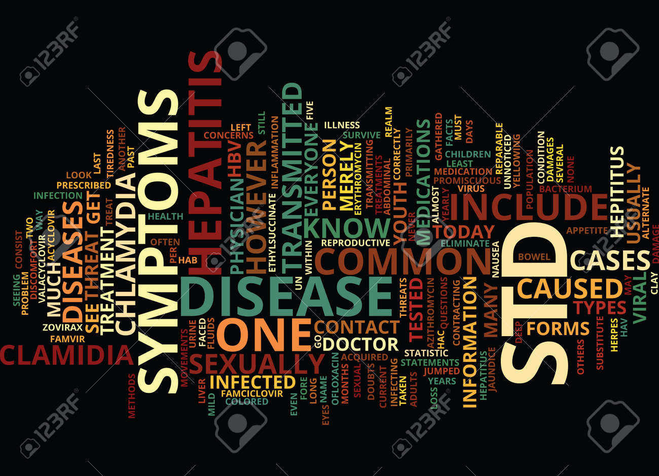 THE IN AND OUT OF STD S Text Background Word Cloud Concept - 82594697