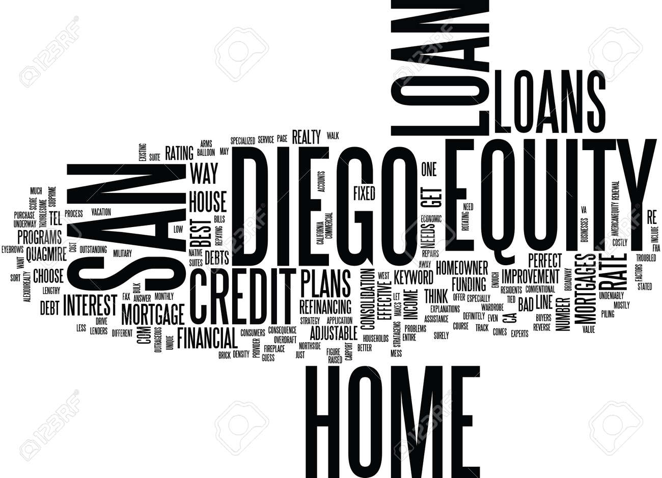 Z SAN DIEGO HOME EQUITY LOAN Text Background Word Cloud Concept ...
