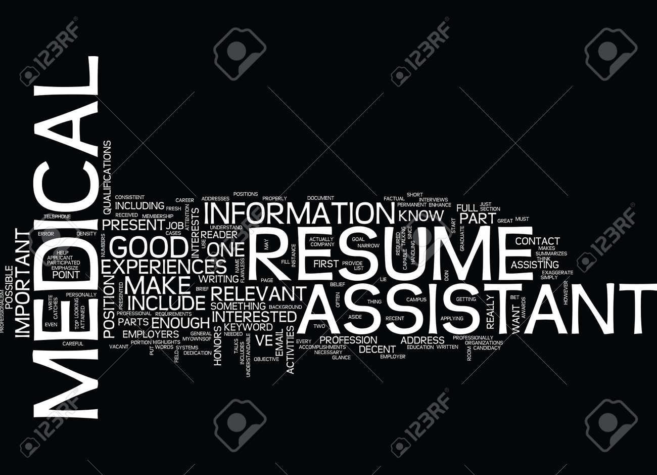 MEDICAL ASSISTANT RESUME Text Background Word Cloud