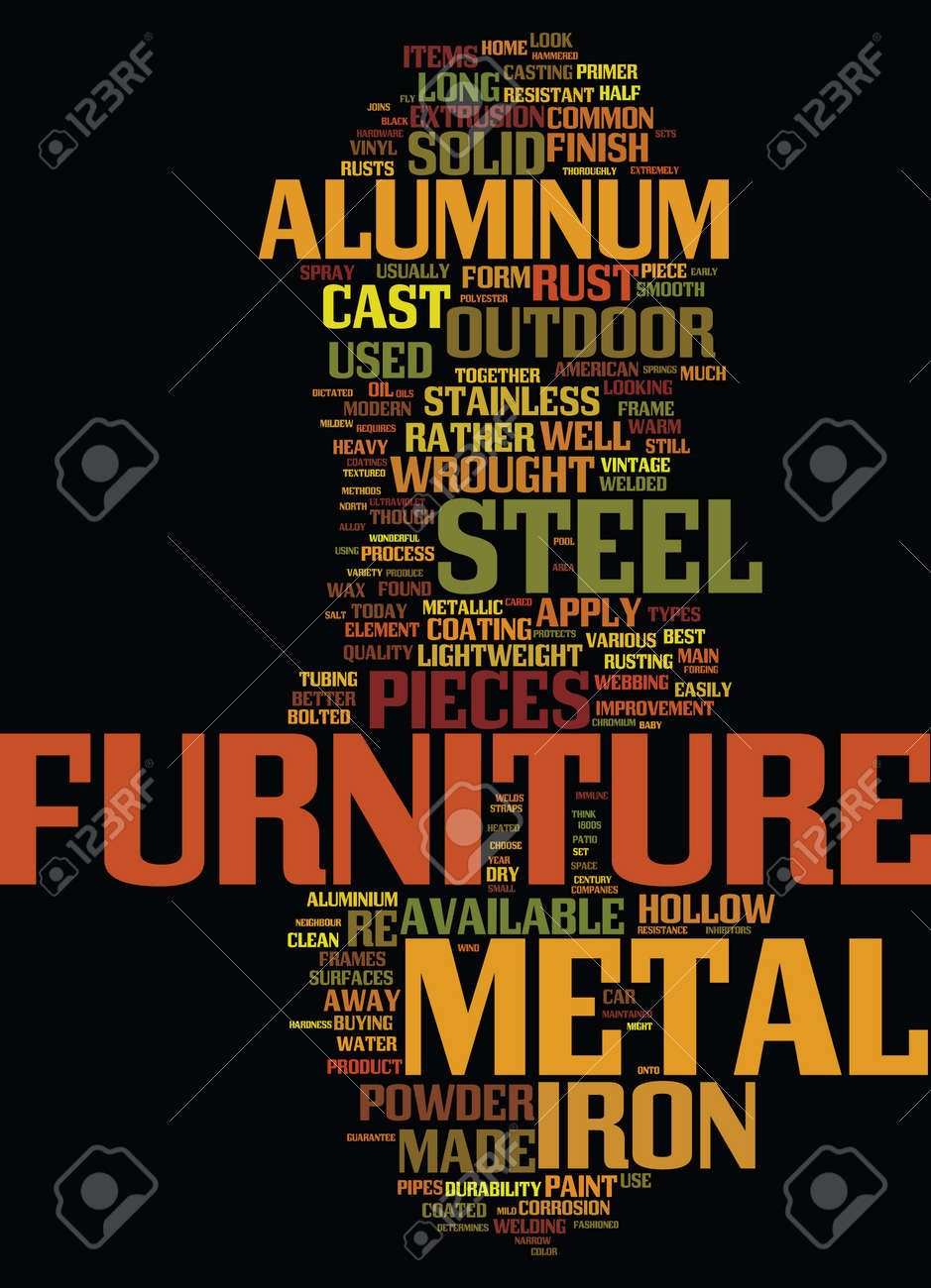 METAL OUTDOOR FURNITURE EXPLAINED Text Background Word Cloud Concept Stock Vector