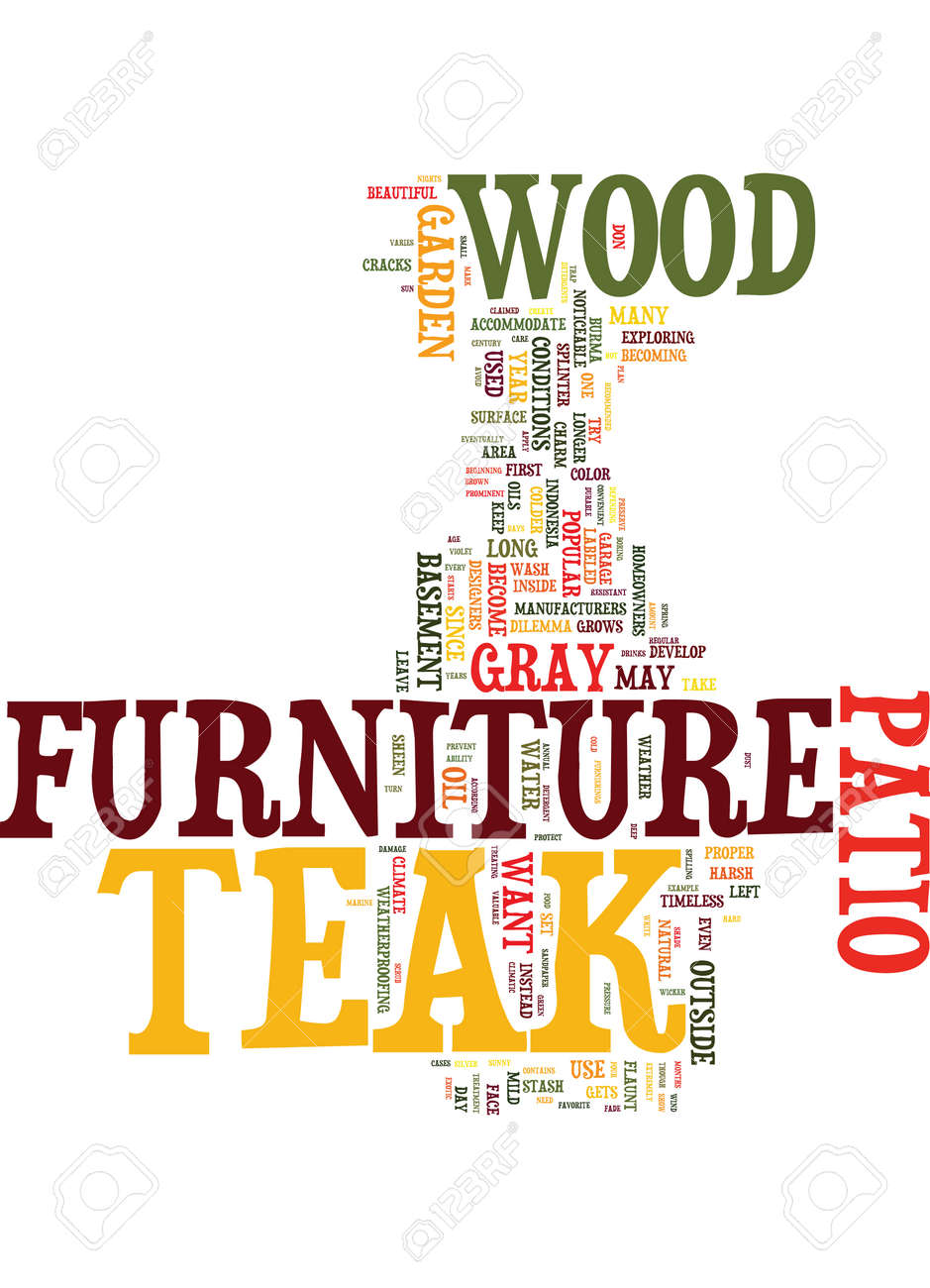 TEAK PATIO FURNITURE Text Background Word Cloud Concept Stock Vector    82624591