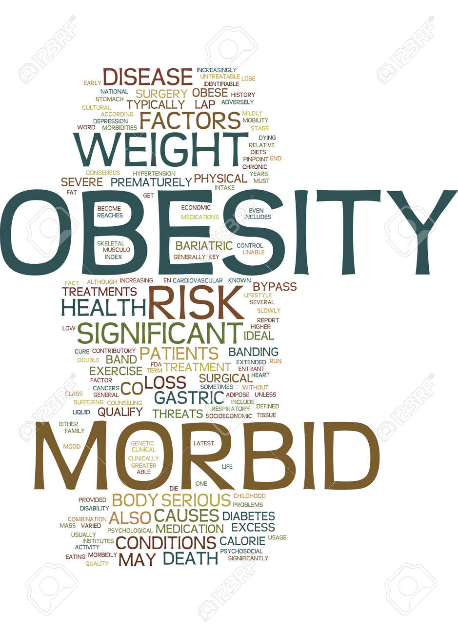 morbid obesity text background word cloud concept royalty free