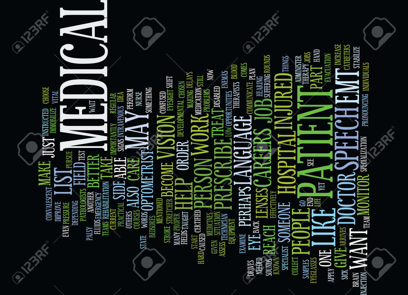 Medical Careers List >> List Of Medical Careers Text Background Word Cloud Concept