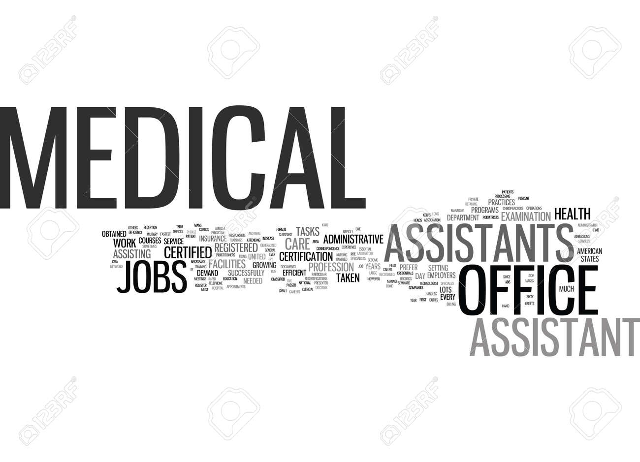 MEDICAL OFFICE ASSISTANT JOBS Text Background Word Cloud Concept ...