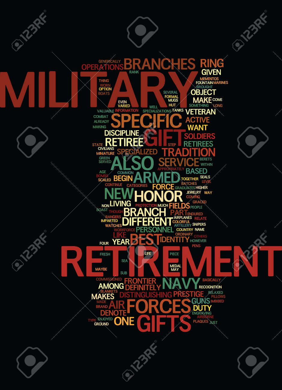 military retirement gifts ten hut text background word cloud