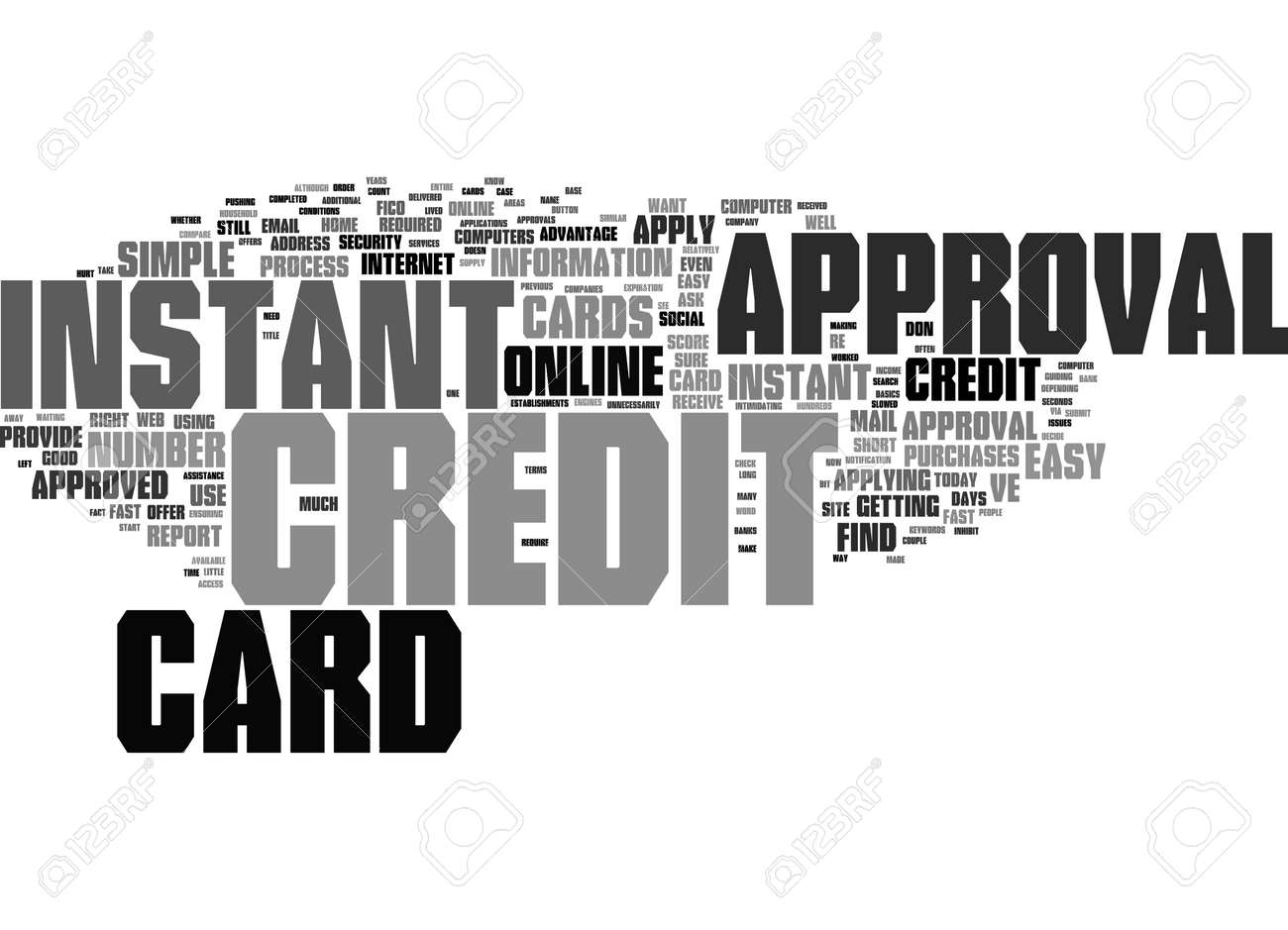 Word Cloud Summary of Instant Credit Card Approval Fast and Easy Article - 152508552