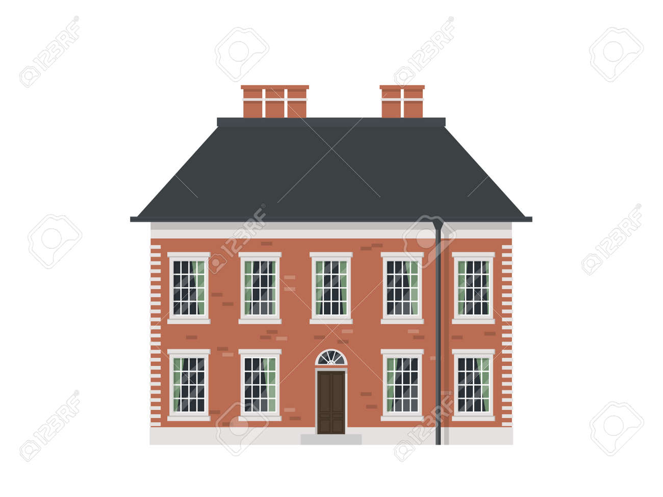 Detailed Isolated Old Town Victorian Style House English Brick Stock Vector