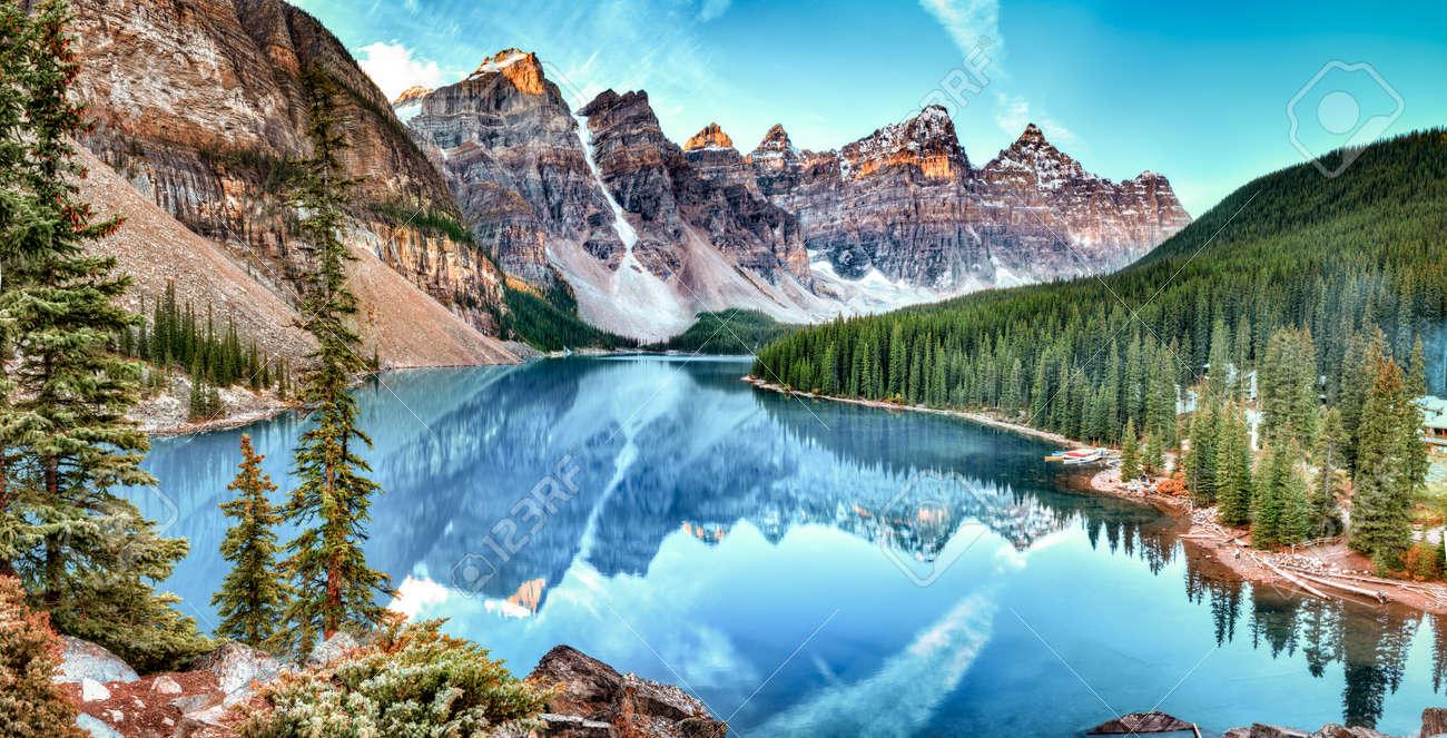 Moraine Lake Panorama In Banff National Park Alberta Canada