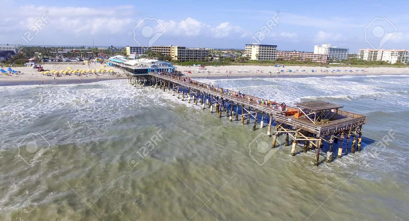 Cocoa Beach Pier >> Daytime Cocoa Beach Pier Aerial View Cape Canaveral Florida