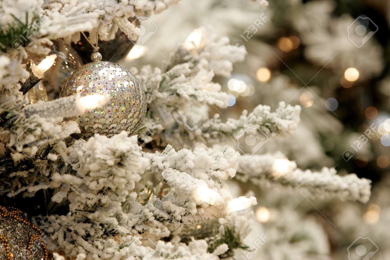 Close Up Of Christmas Tree Decoration With White Silver And Stock Photo Picture And Royalty Free Image Image 160828648
