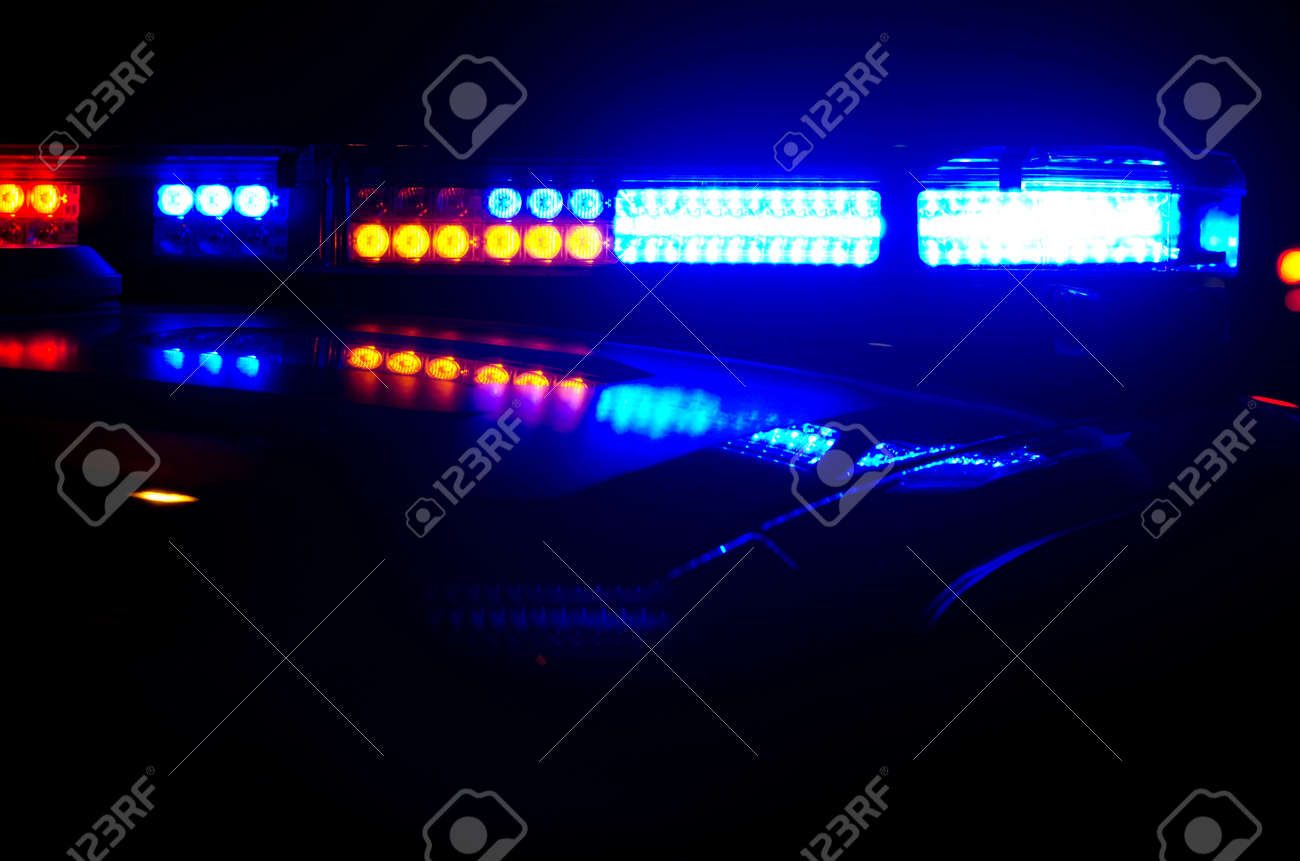 Elegant Police Lights At Night. Stock Photo   18565067