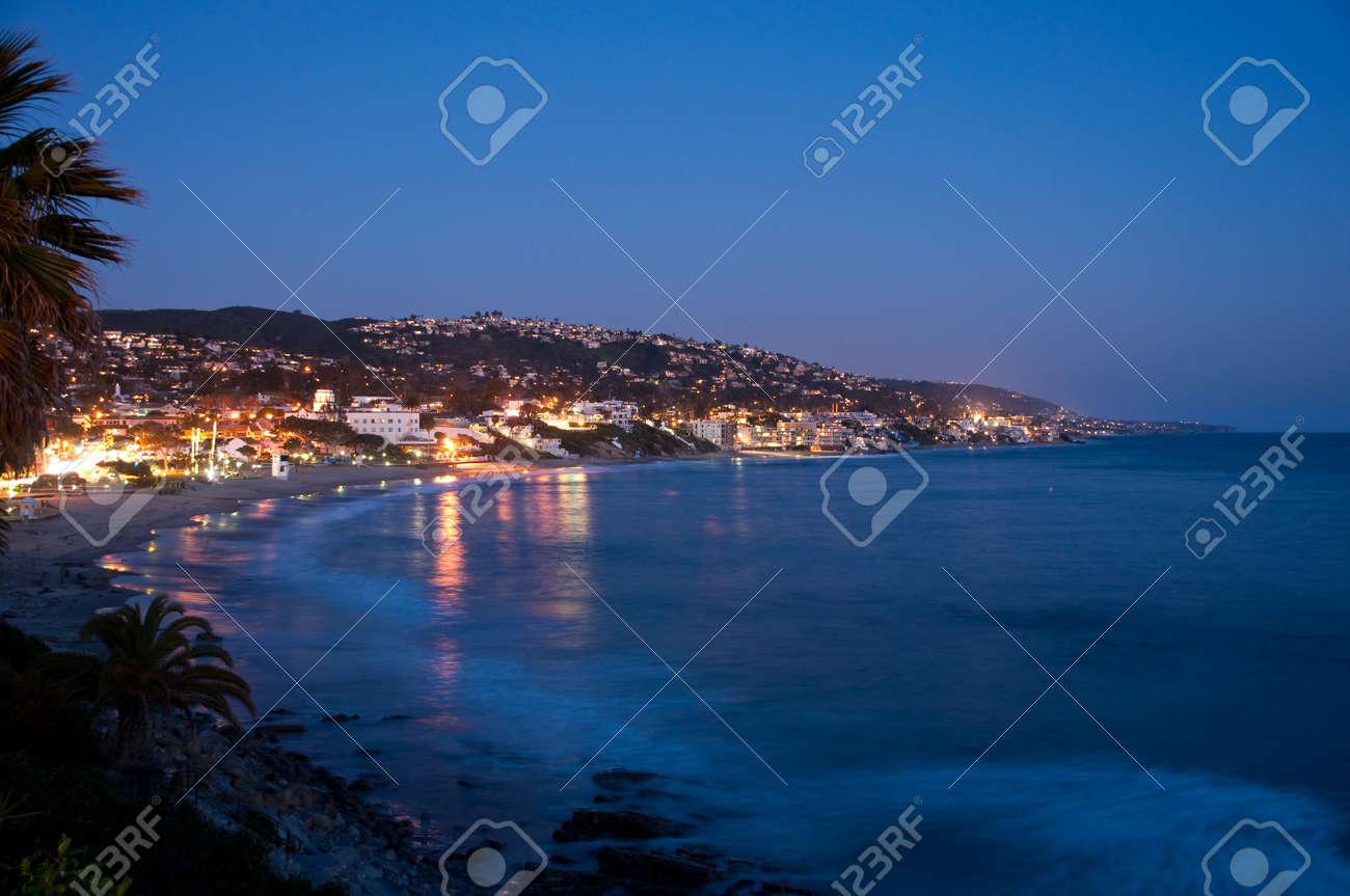 A view of Laguna Beach,CA in Orange County at twilight Stock Photo - 19449727