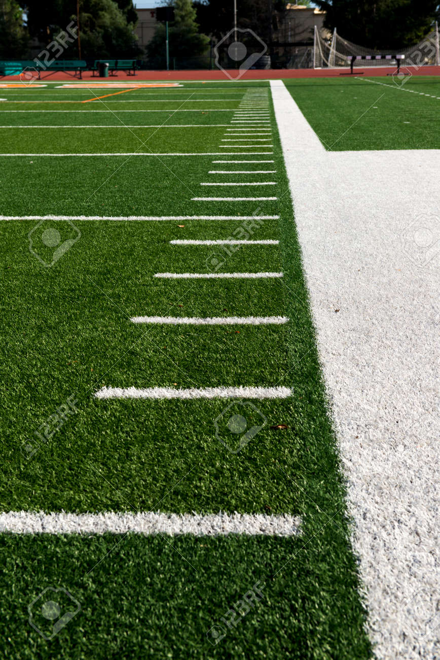 The Sideline And Yard Markers On An American Football Field