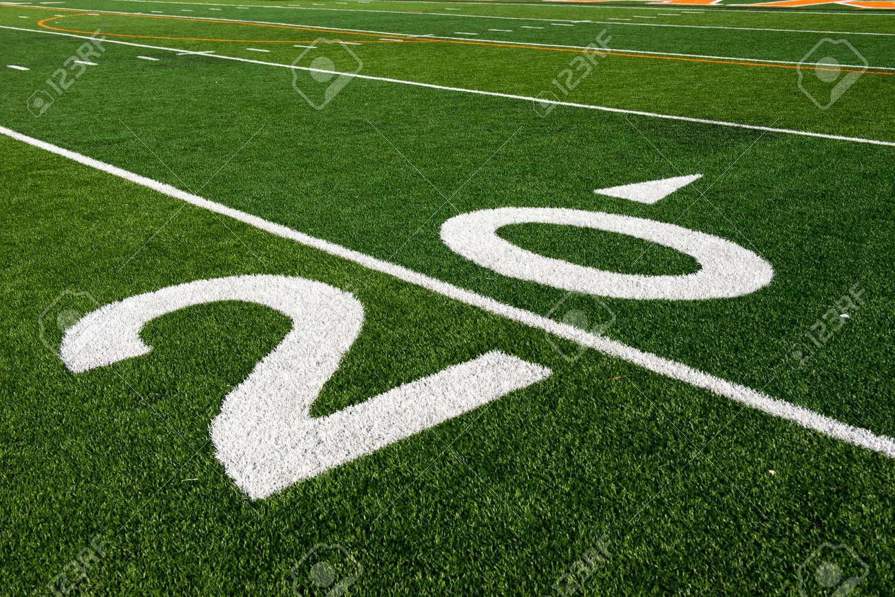 green grass football field. Grass American Football Field. The 20 Yard Line On An Stock Green Field C
