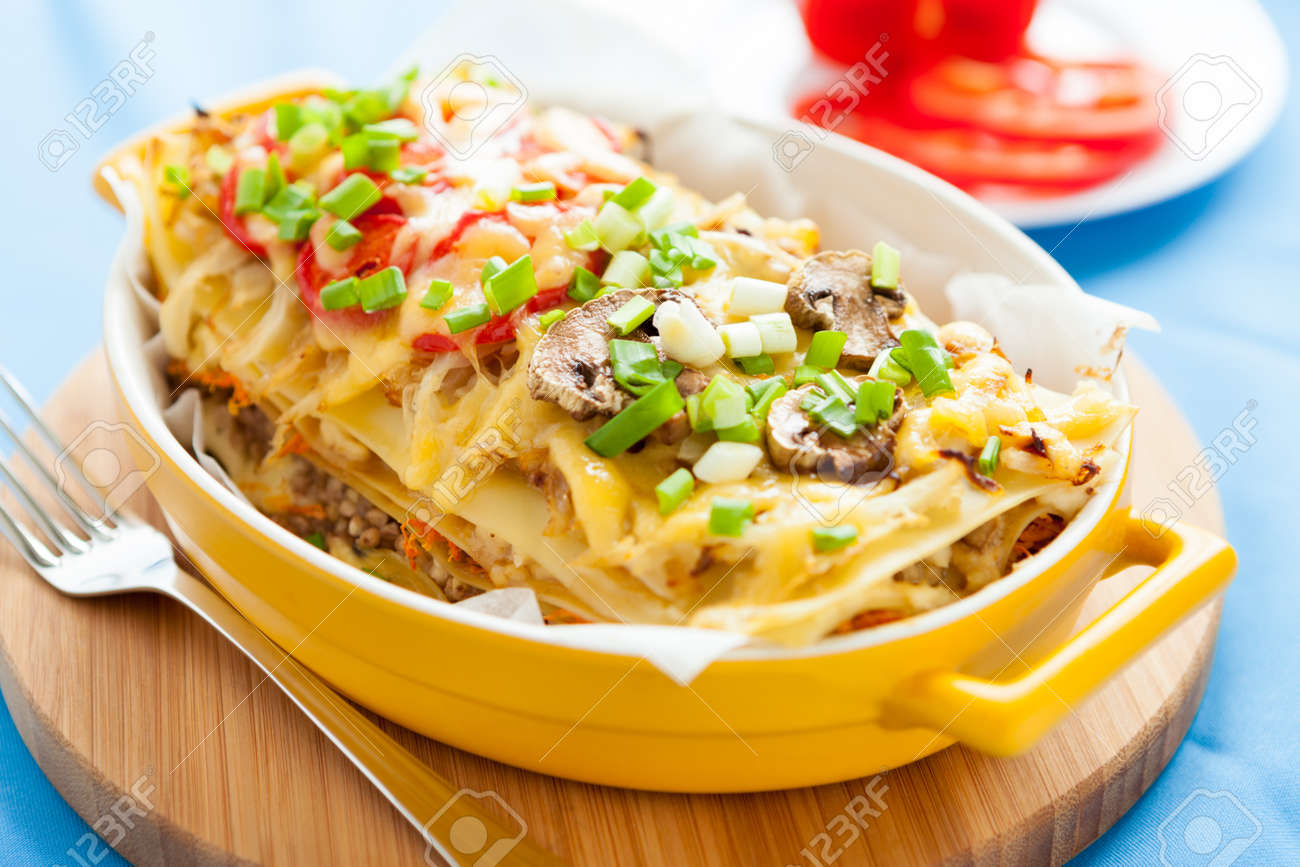 Italian lasagna with vegetables. Traditional mediterranean tasty food Stock Photo - 17575028
