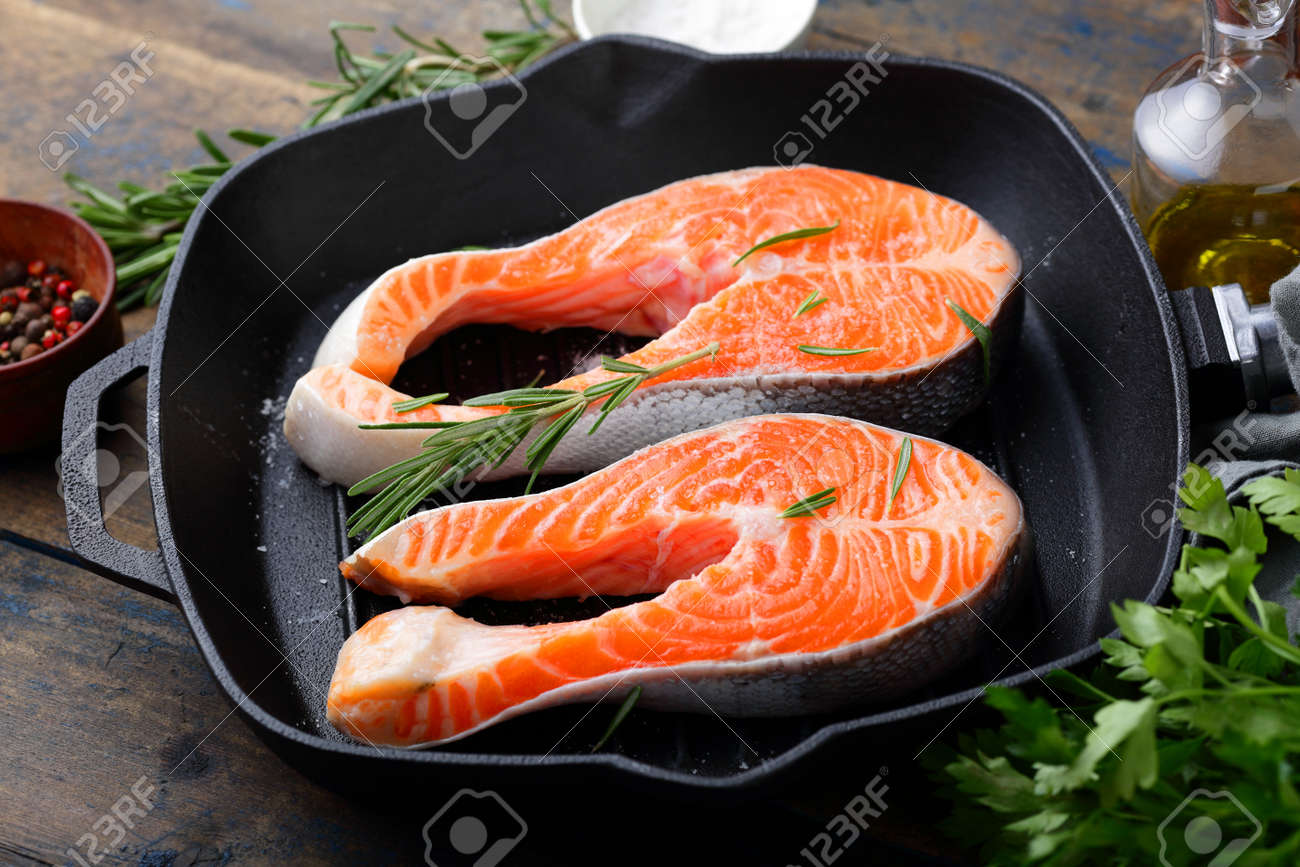 Steak Salmon On A Grill Pan Cooking Red Fish Stock Photo 54095474