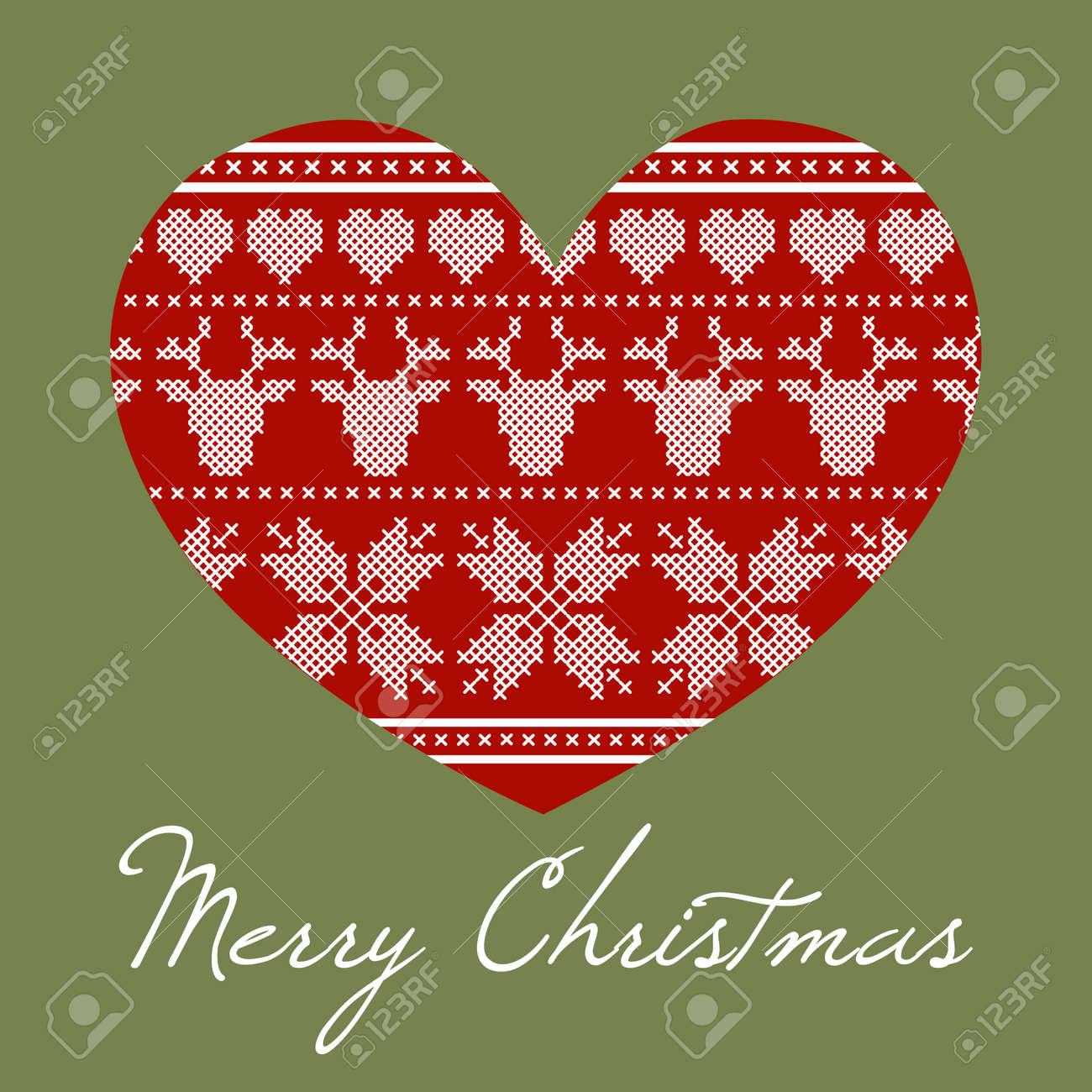 Corazón De La Navidad Hecha De Diseño De Punto De Cruz. Estilo ...