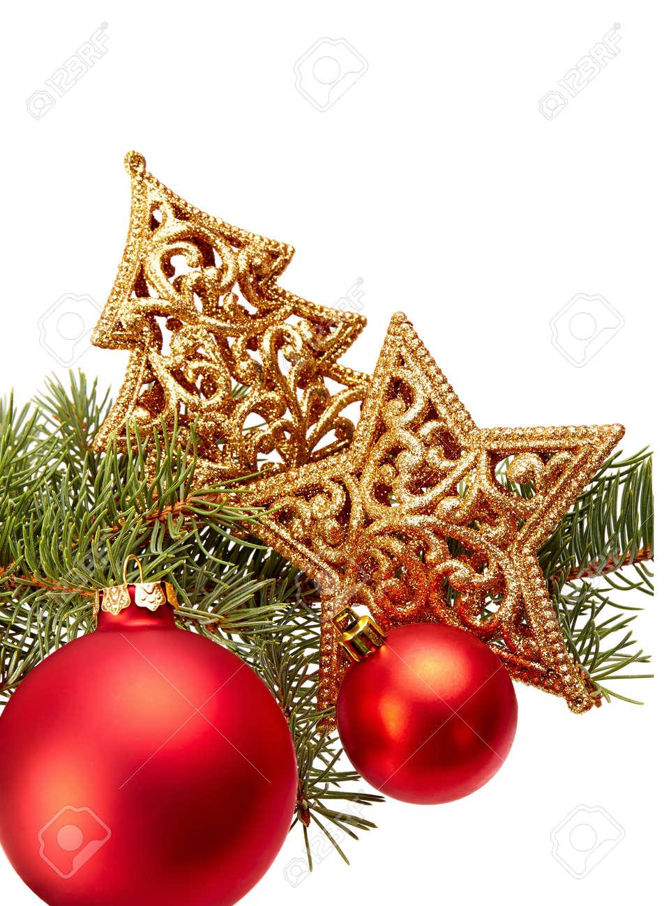 Décoration De Noël Branche De Sapin, Boule De Noël, étoile D'or