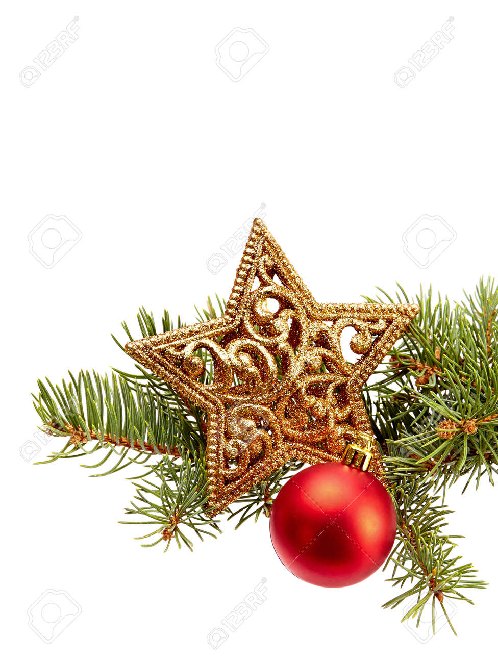 Décoration De Noël (branche De Sapin, Boule De Noël, étoile D'or