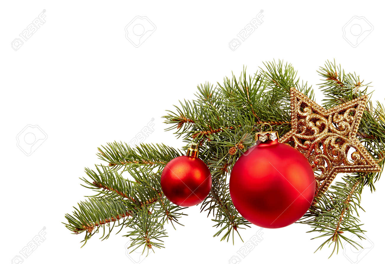 Christmas Decoration (fir Branch,christmas Ball,gold Star