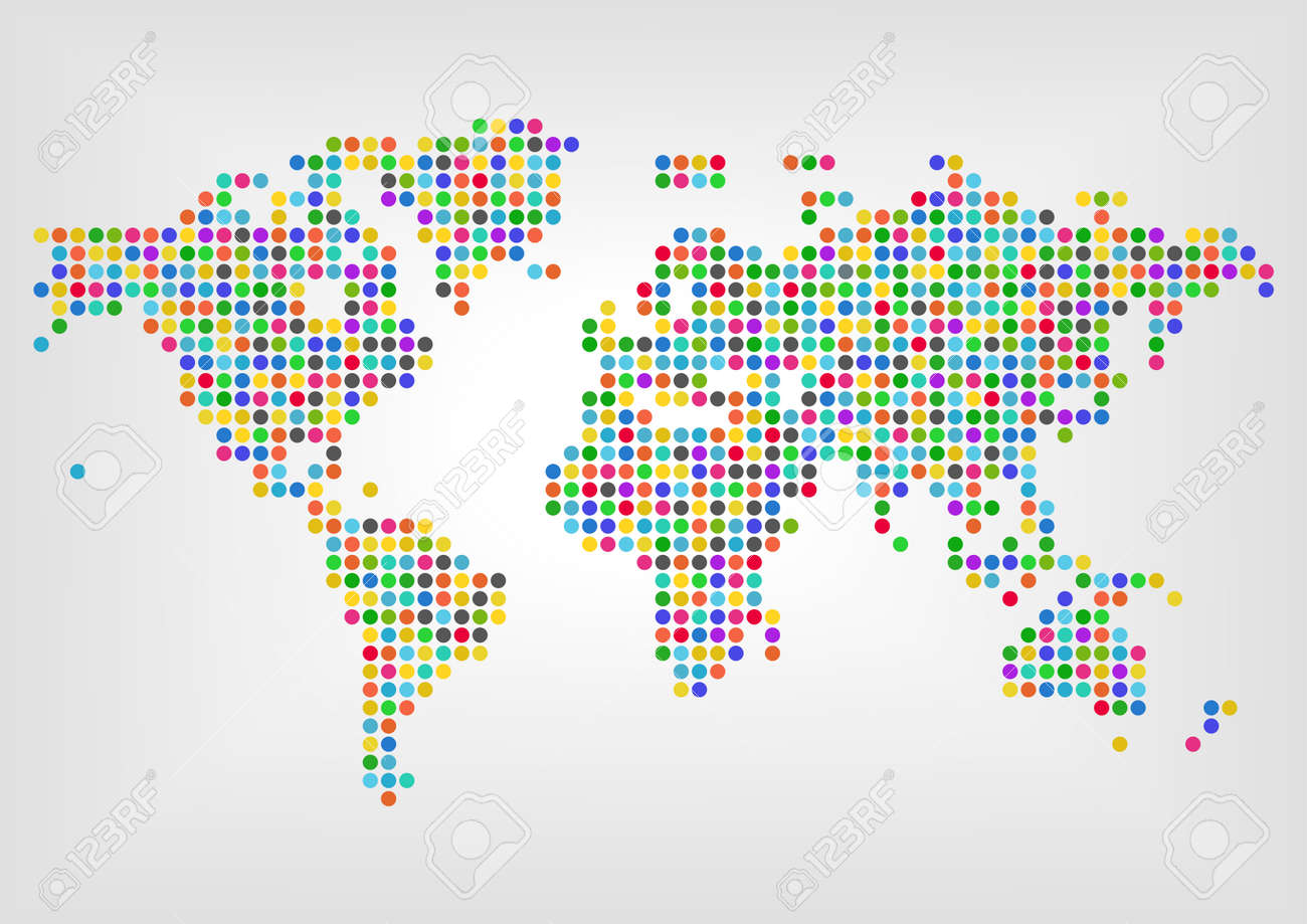 Map With Dots In Different Colors. Concept Of Diversity Around ... Diversity Map on