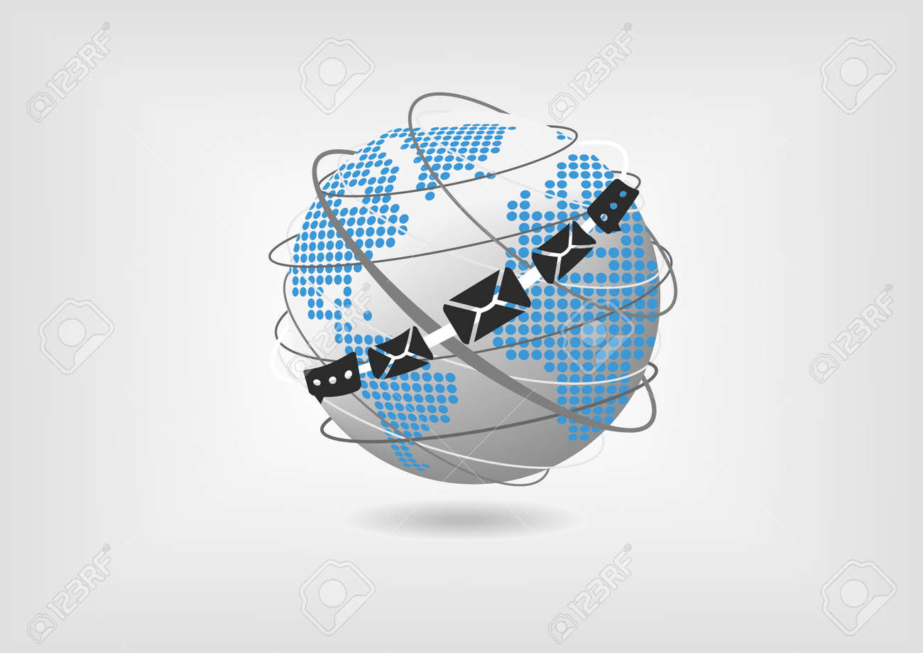 Vector illustration of globe with dotted world map and messaging vector vector illustration of globe with dotted world map and messaging and mail icons concept of unified collaboration and communication gumiabroncs Images