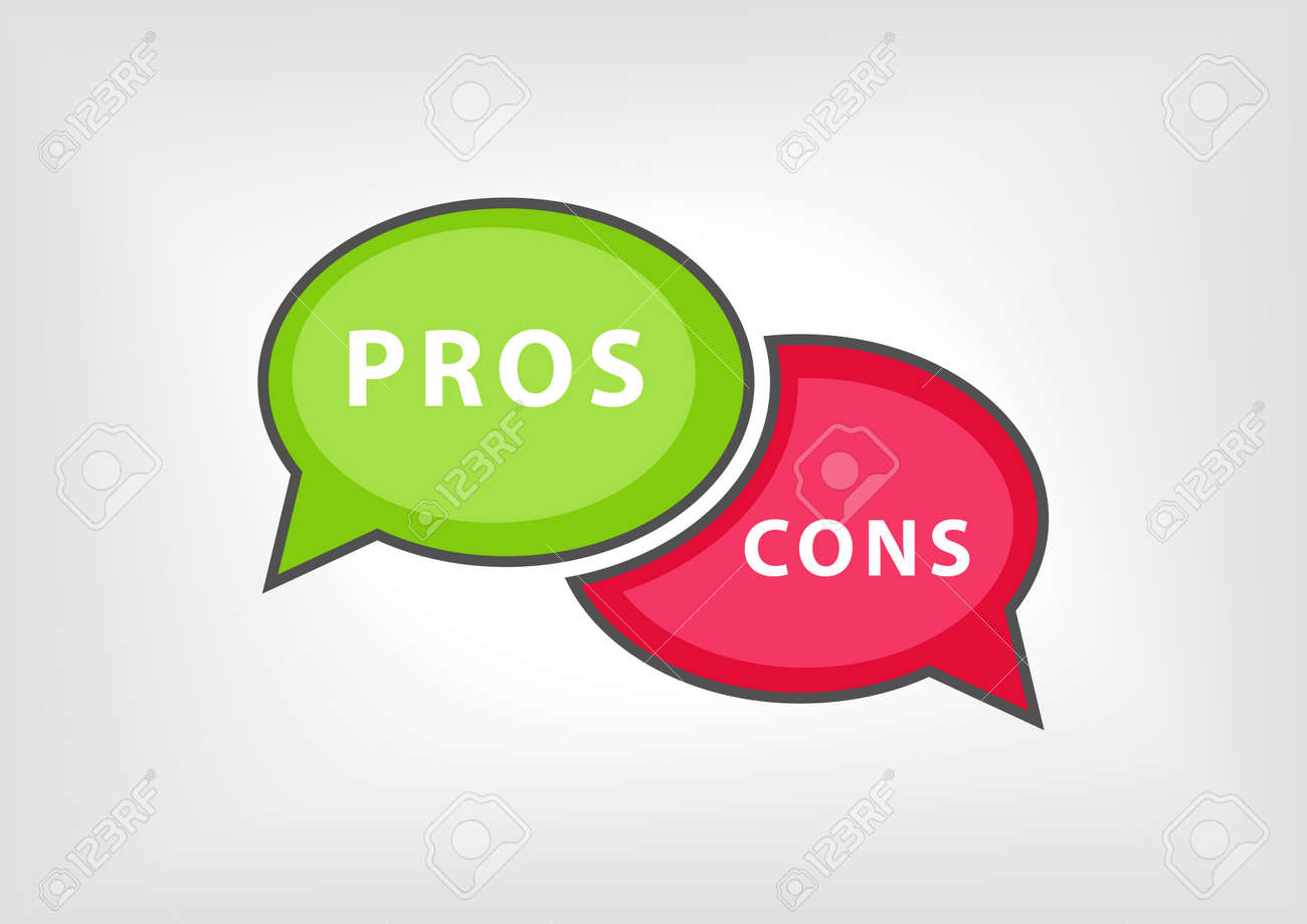 Concept of pros versus cons collected During meetings, arguments, debates.  Vector illustration of
