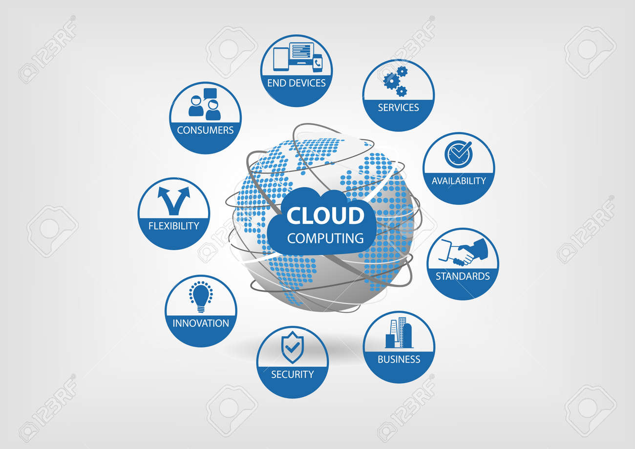 Vector illustration with spinning globe and dotted world map vector vector illustration with spinning globe and dotted world map in blue and gray flat design cloud computing concept visualized with different icons gumiabroncs Gallery