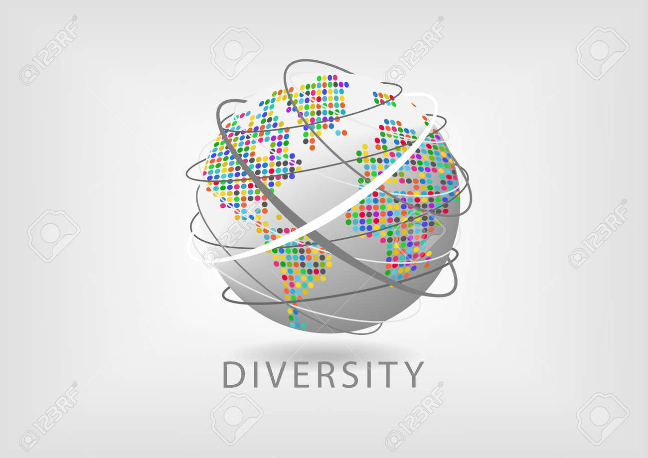 Spinning Globe With Colorful Dotted Map And Lines Representing Munication Concept Of Diversity Around The