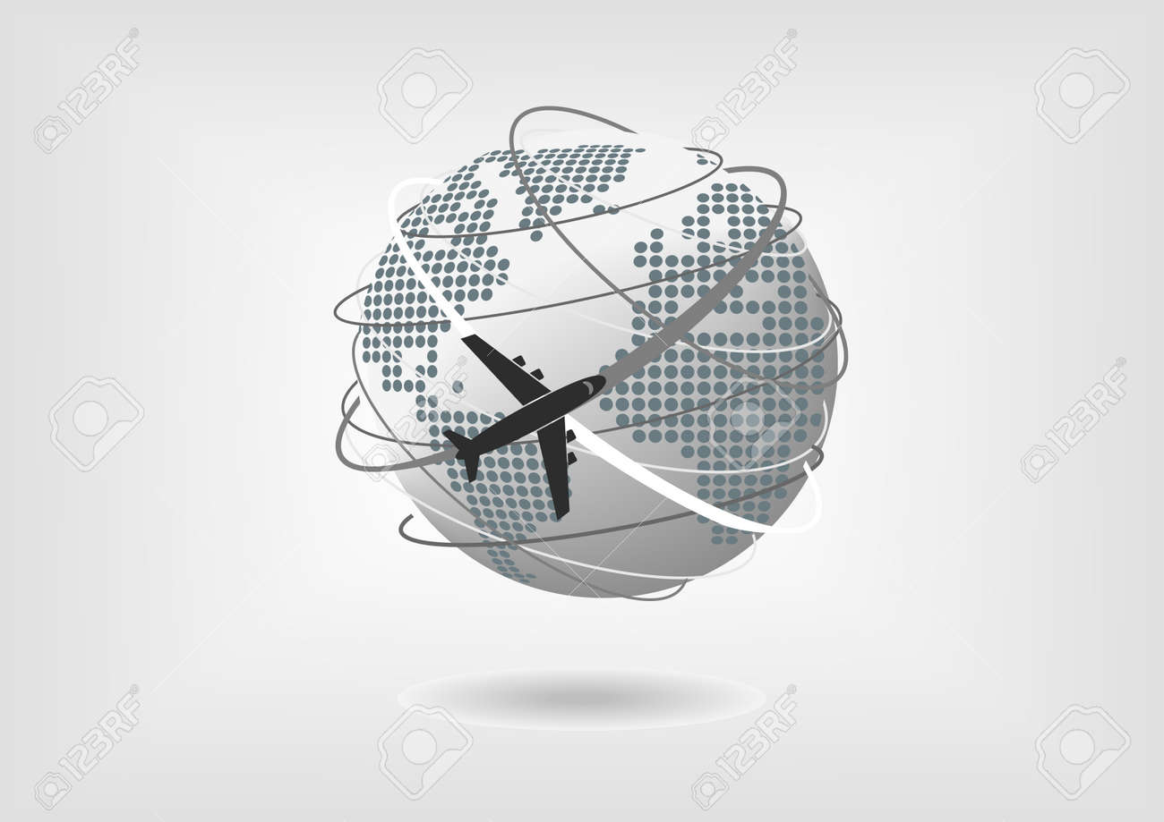 Vector illustration of globe with dotted world map of north america vector illustration of globe with dotted world map of north america south america europe gumiabroncs Gallery
