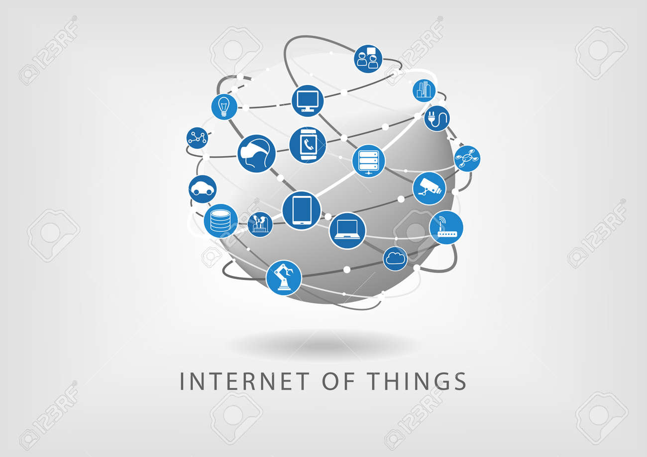 Internet of things modern connected world illustration as vector icons in flat design. Globe with various connections between devices: such as smart phone, smart sensors and watch. - 37922439